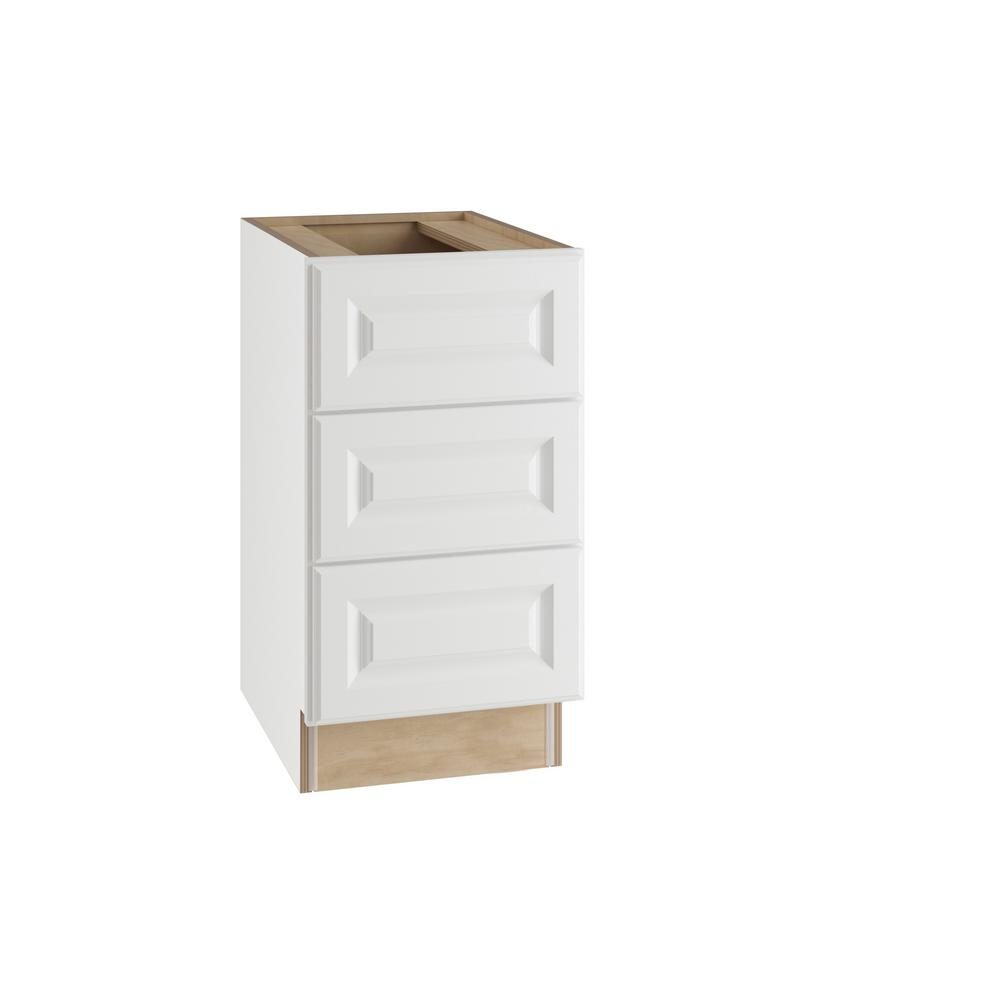 Home Decorators Collection Hallmark Assembled 15x28.5x21 in. Desk Height  Base Cabinet with 3 Drawers in Arctic White