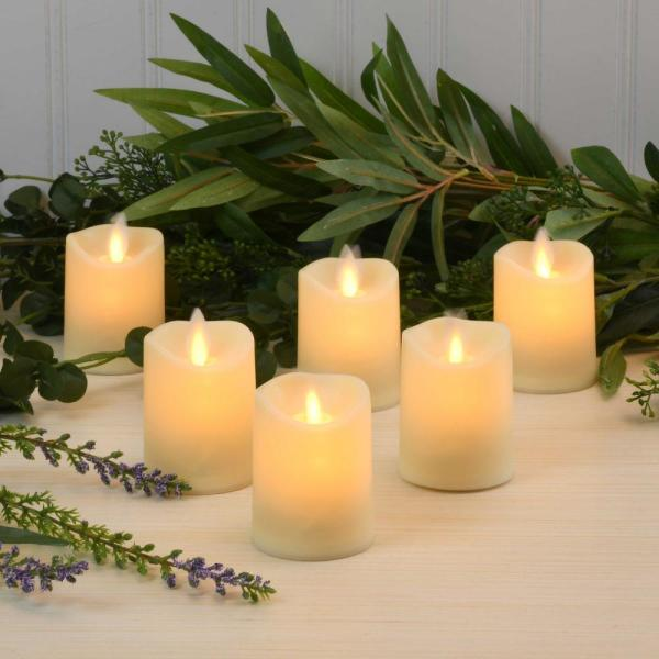 White Battery Operated LED Votives with Moving Flame (Set of 6)
