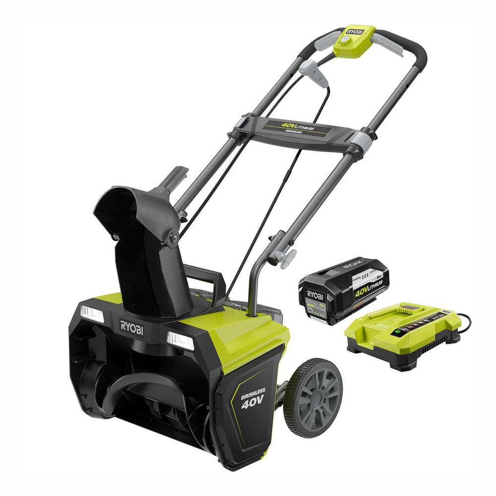 RYOBI 20 in. 40-Volt Brushless Cordless Electric Snow Blower - 5.0 Ah Battery and Charger Included