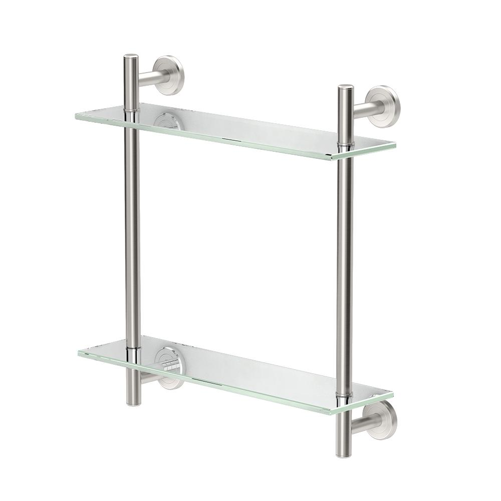 gatco latitude ii 17 in w 2 tier glass shelf in satin. Black Bedroom Furniture Sets. Home Design Ideas