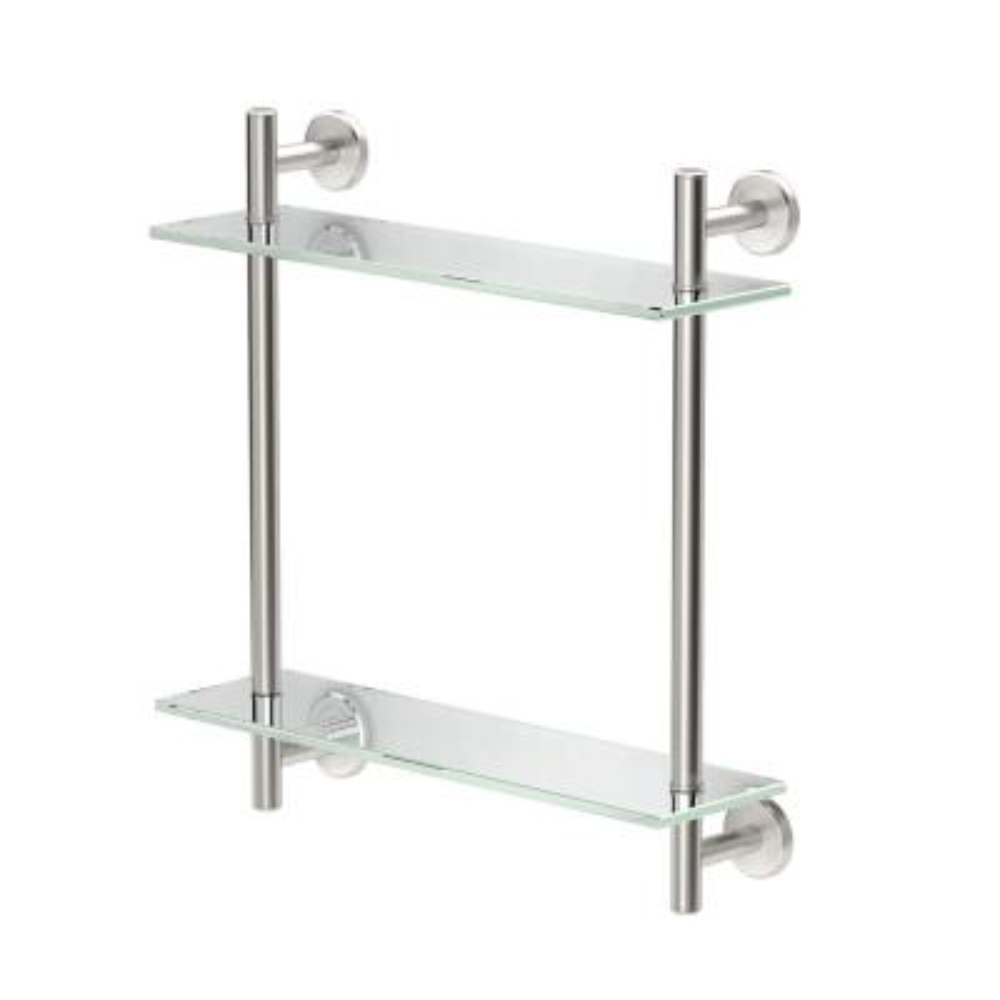 Latitude II 17 in. W 2-Tier Glass Shelf in Satin Nickel