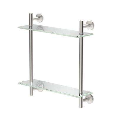 Latitude II 17 in. W 2-Tier Glass Shelf in Satin Nickel