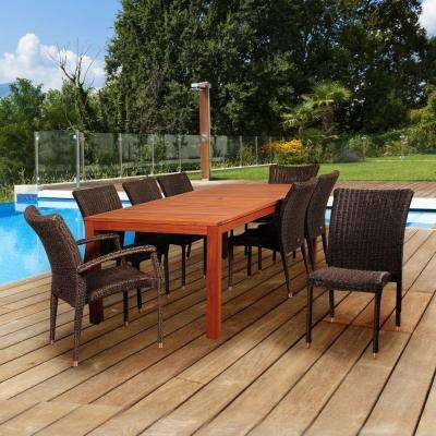 Atlantis 9-Piece Eucalyptus/Wicker Rectangular Patio Dining Set