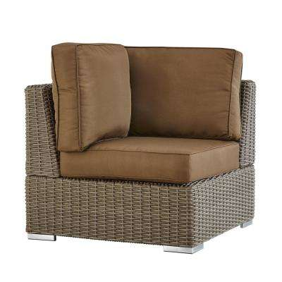 Camari Mocha Wicker Corner Outdoor Sectional Chair with Brown Cushion