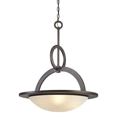 4-Light Oil-Rubbed Bronze Pendant with Frosted White Glass Bowl
