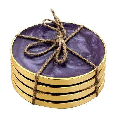 Hammered Brass 4-Pieces Purple Coaster Set