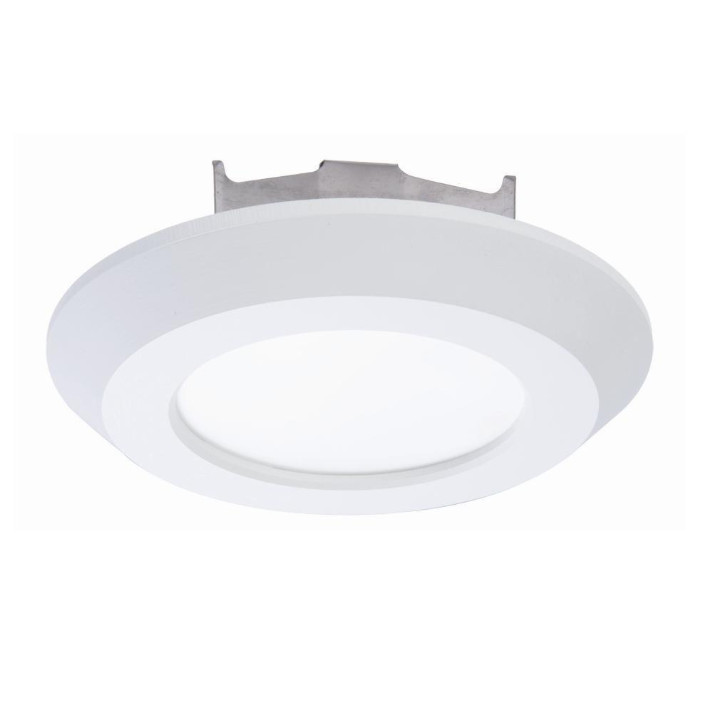 Halo 4 in. Matte White Recessed LED 3000K Surface Disk Light with ...
