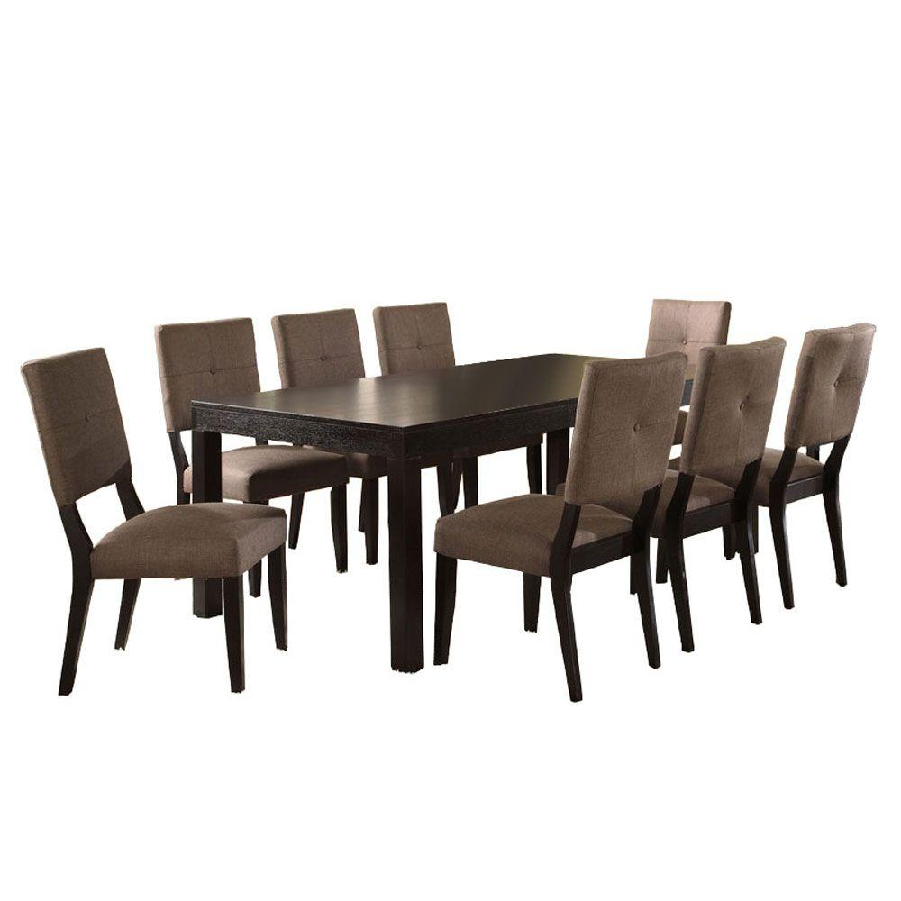 Venetian worldwide bayside ii 9 piece espresso dining set for Jardin 8 piece dining set