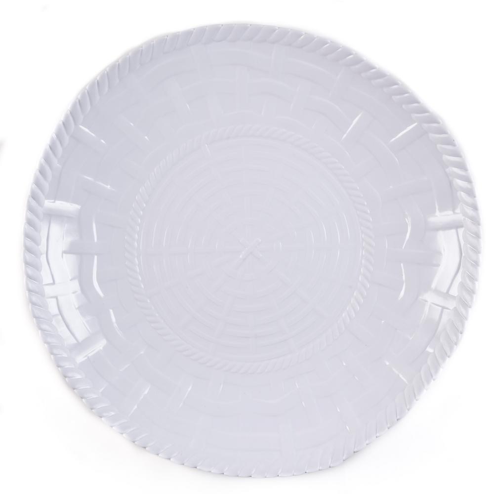 WOVEN White Melamine Shallow Bowl