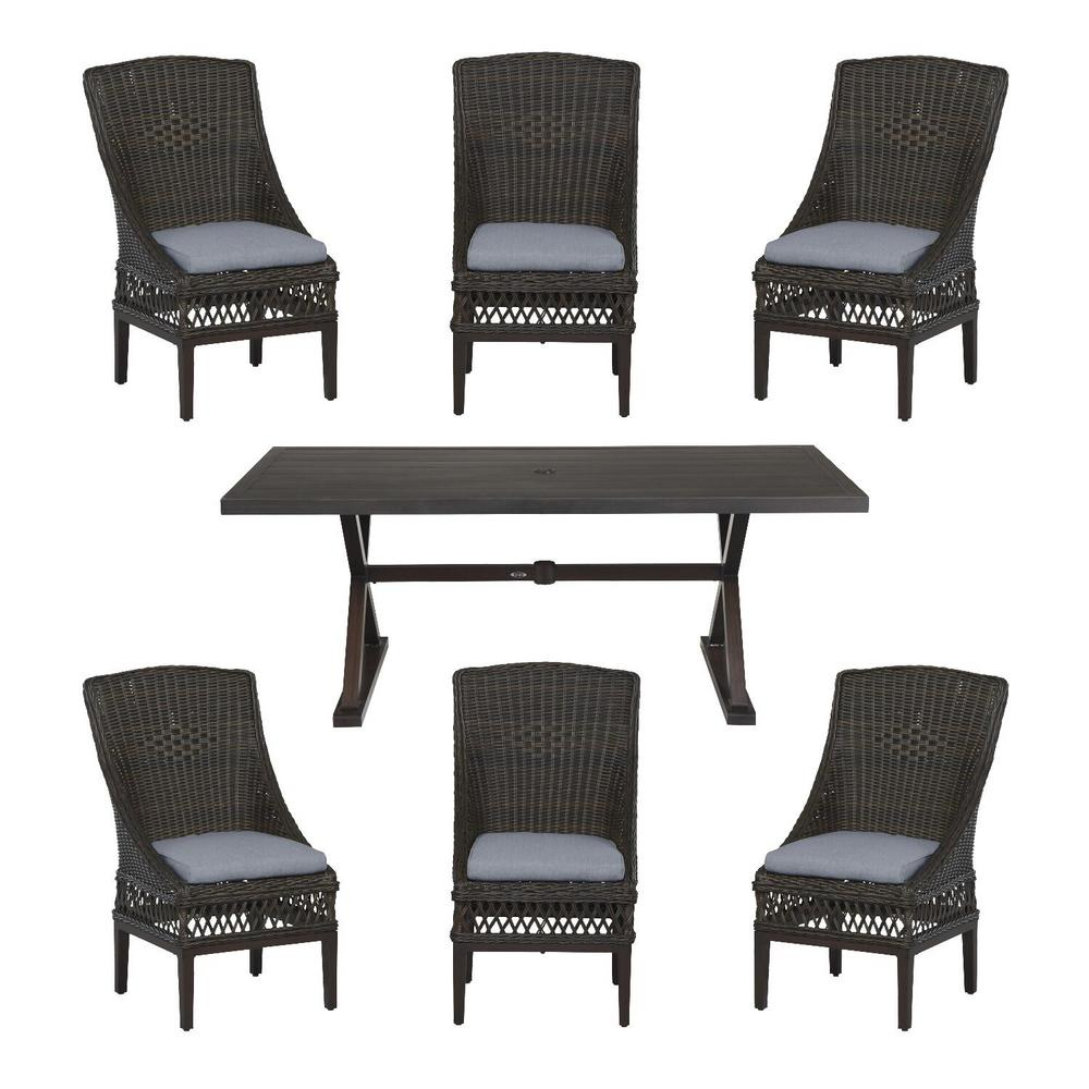 Hampton Bay Woodbury Dark Brown 7-Piece Wicker Outdoor Patio Dining Set with CushionGuard Steel Blue Cushions was $1299.0 now $799.0 (38.0% off)