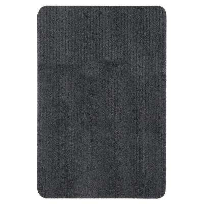 Lifesaver Collection Dark Gray 2 ft. x 3 ft. Utility Ribbed Indoor/Outdoor Runner Rugs