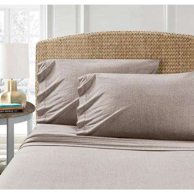 Heathered Taupe Queen Jersey Sheet Set