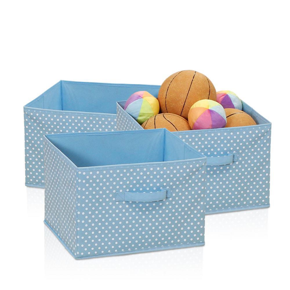 Laci Small Dot Blue Fabric Soft Storage Organizer (3-Pack)