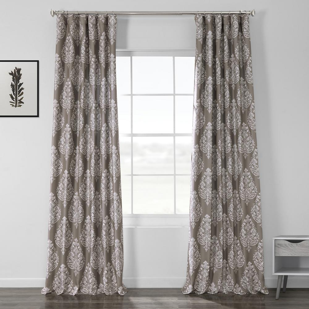 Exclusive Fabrics & Furnishings Istanbul Taupe Brown Printed Linen Textured Blackout Curtain - 50 in. W x 120 in. L (1-Panel)