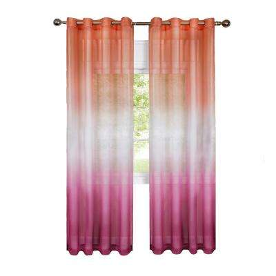 Sheer Rainbow 84 in. L Polyester Single Grommet Window Curtain Panel in Pink