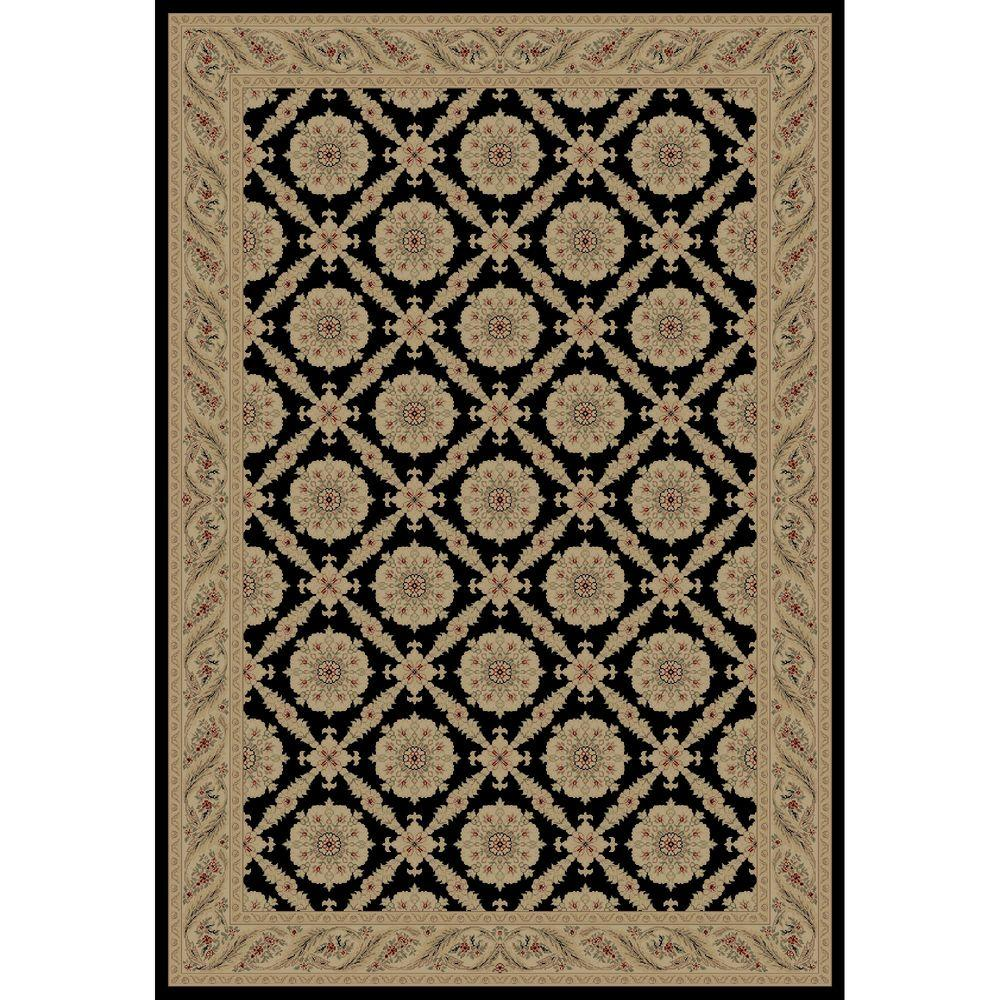 Concord Global Trading Imperial Aubosson Black 6 ft. 7 in. x 9 ft. 6 in. Area Rug