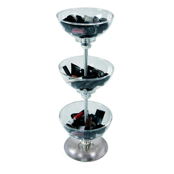 Three Tier 8 in. Bowl Displays with Chrome Base