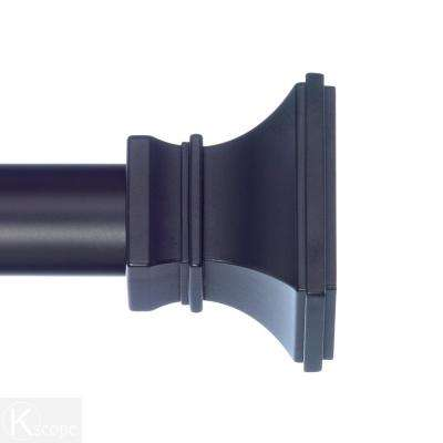 4 ft. Non-Telescoping Curtain Rod 1-1/8 in. in Black with Versailles Finials