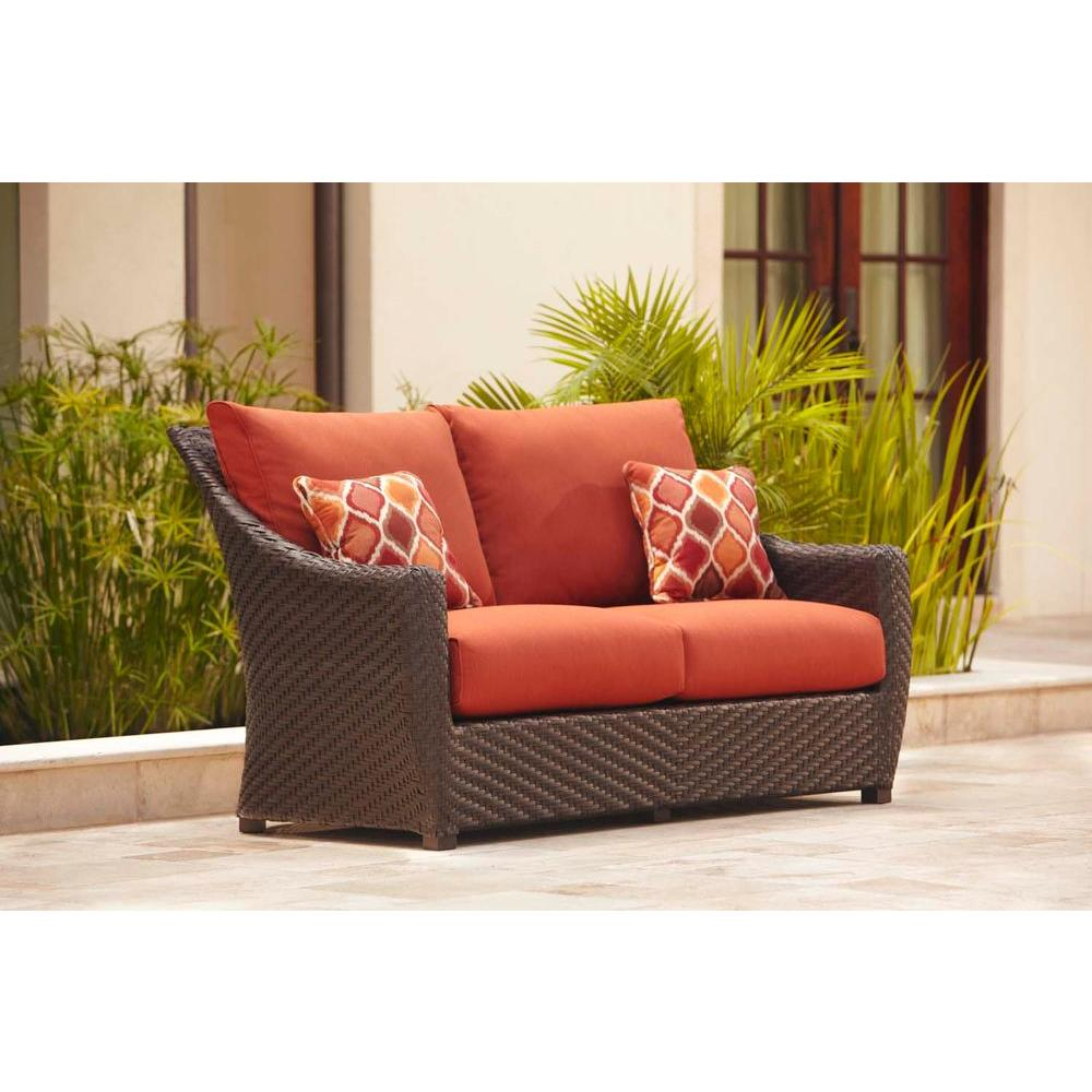 Highland Patio Loveseat With Cinnabar Cushions And Empire Chili Throw Pillows