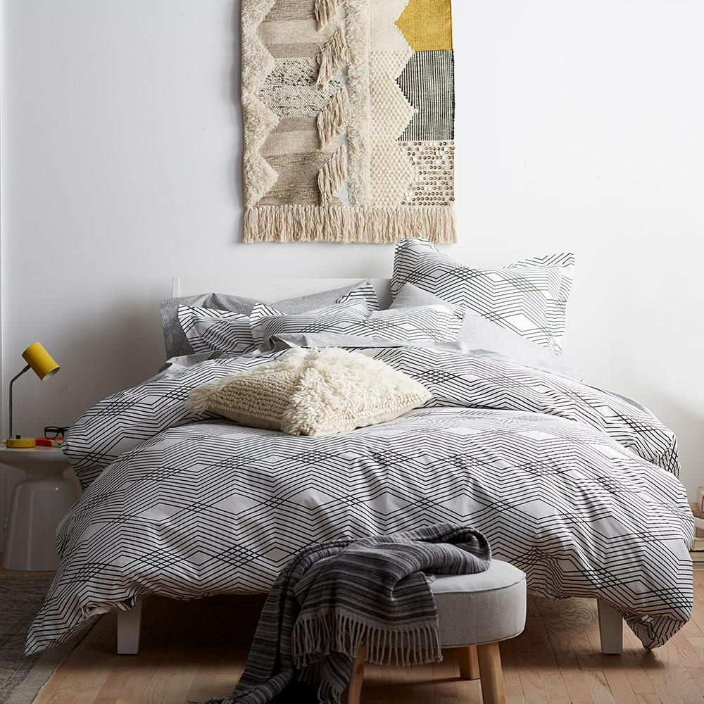 Wave Black/White Geometric Organic Cotton Percale King Duvet Cover