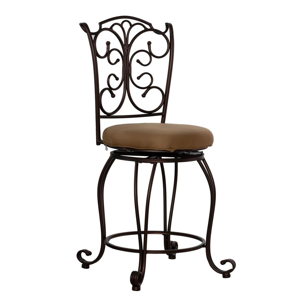 Linon Home Decor Gathered Back 24 In Copper Metallic Cushioned Bar Stool 02790mtl 01 Kd U The Home Depot