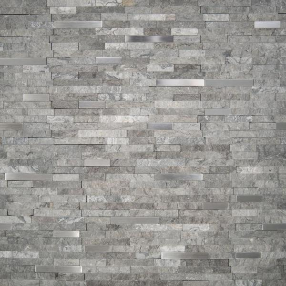 Eclipse Interlocking 12 in. x 12 in. x 8 mm Matte Metal Stone Mesh-Mounted Mosaic Wall Tile (10 sq. ft. / case)