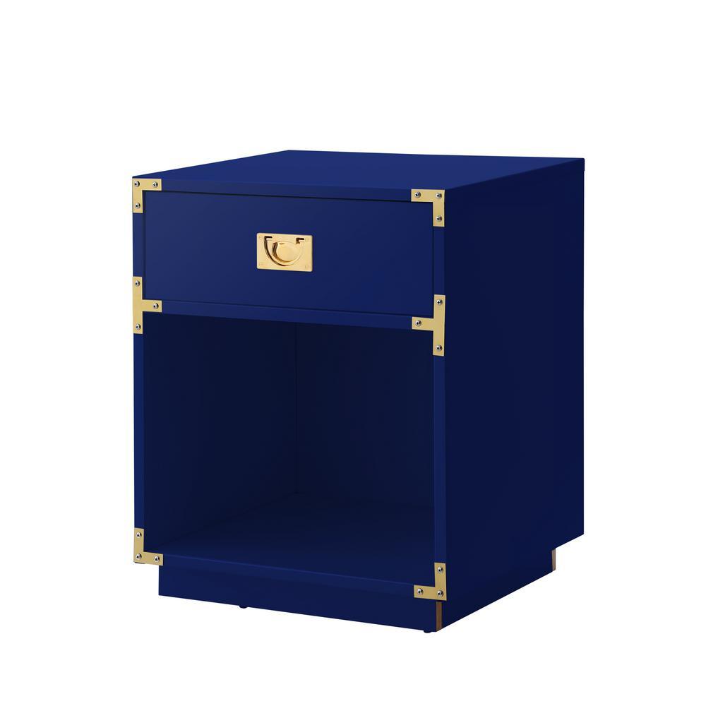 Odrini Modern Dark Navy/Gold End Table Metal Corner Brackets Knob Nightstand