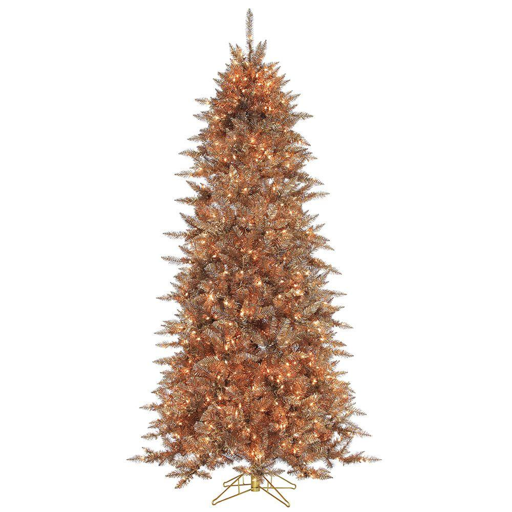 pre lit layered copper and silver frasier fir artificial christmas tree with - Silver Christmas Trees