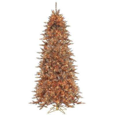 7.5 ft. Pre-Lit Layered Copper and Silver Frasier Fir Artificial Christmas Tree with Clear Lights