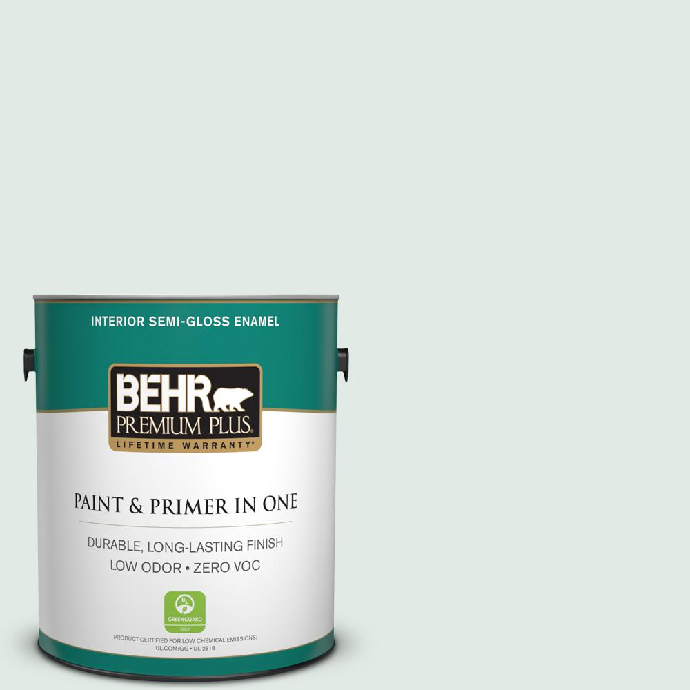 BEHR Premium Plus 1 gal. #480E-1 Country Mist Semi-Gloss Enamel Zero VOC Interior Paint and Primer in One
