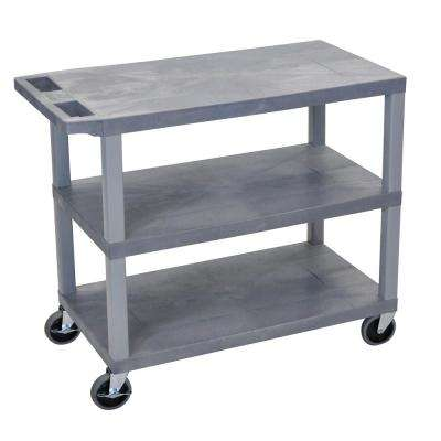 EC 35.25 in. W x 18 in. D x 34.5 in. H 3-Flat Shelf Utility Cart in Gray