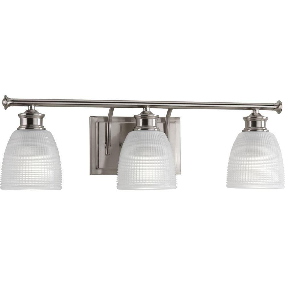 Polished Nickel Bathroom Vanity Light: Progress Lighting Lucky Collection 3-Light Brushed Nickel
