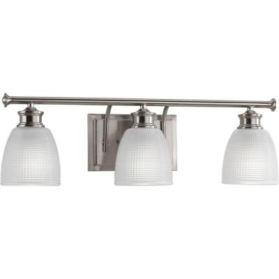 Lucky Collection 3-Light Brushed Nickel Bathroom Vanity Light with Glass Shades