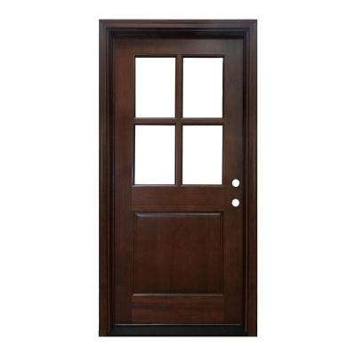 36 in. x 80 in. Farmhouse Ashville Left-Hand Inswing Mahogany Stained Wood Prehung Front Door