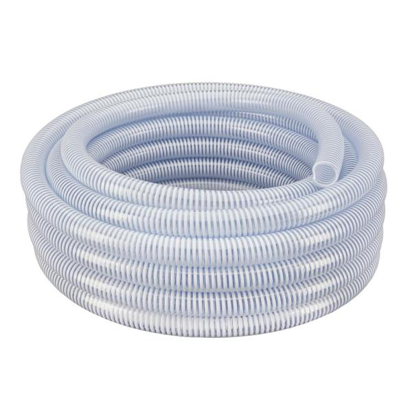 3 in. Dia x 25 ft. Clear Flexible PVC Suction and Discharge Hose with White Reinforced Helix