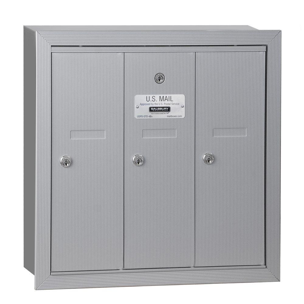 Salsbury Industries Aluminum Recessed-Mounted USPS Access Vertical Mailbox with 3 Door
