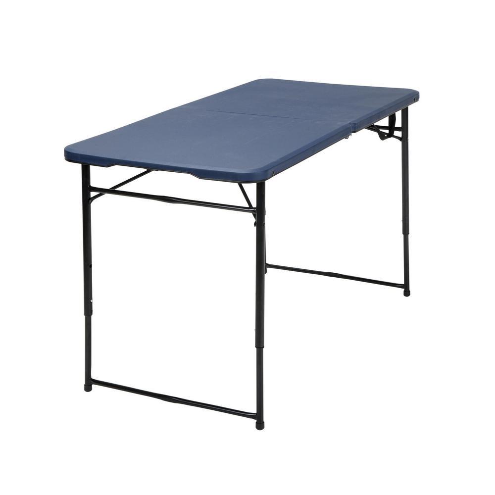 Cosco 48 In Dark Blue Plastic Portable Folding High Top Table