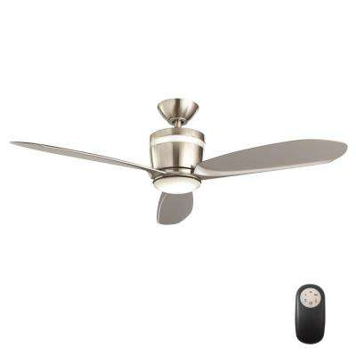 Federigo 48 in. LED Indoor Brushed Nickel Ceiling Fan with Light Kit and Remote Control