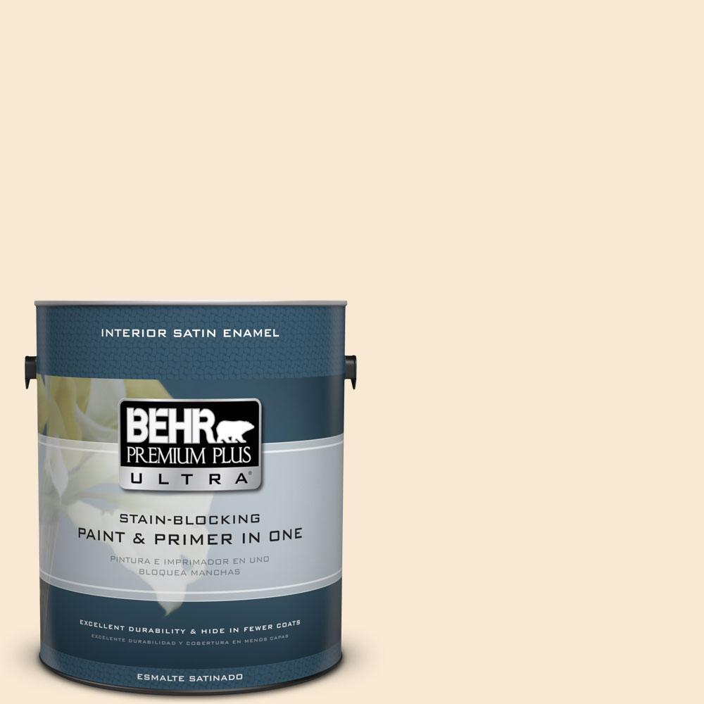 BEHR Premium Plus Ultra 1-gal. #OR-W5 Almond Milk Satin Enamel Interior Paint