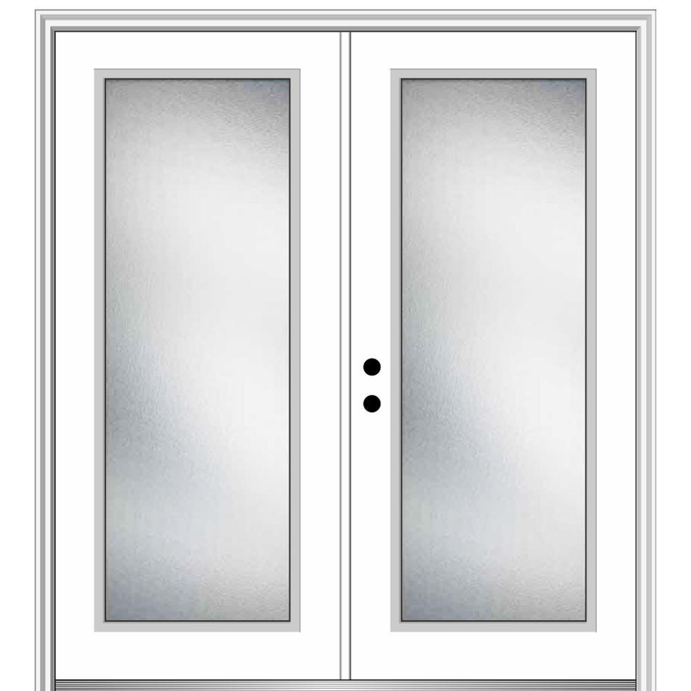 72 in. x 80 in. Micro Granite Right-Hand Inswing Full Lite Decorative Primed Steel Prehung Front Door 4-9/16 in. Frame