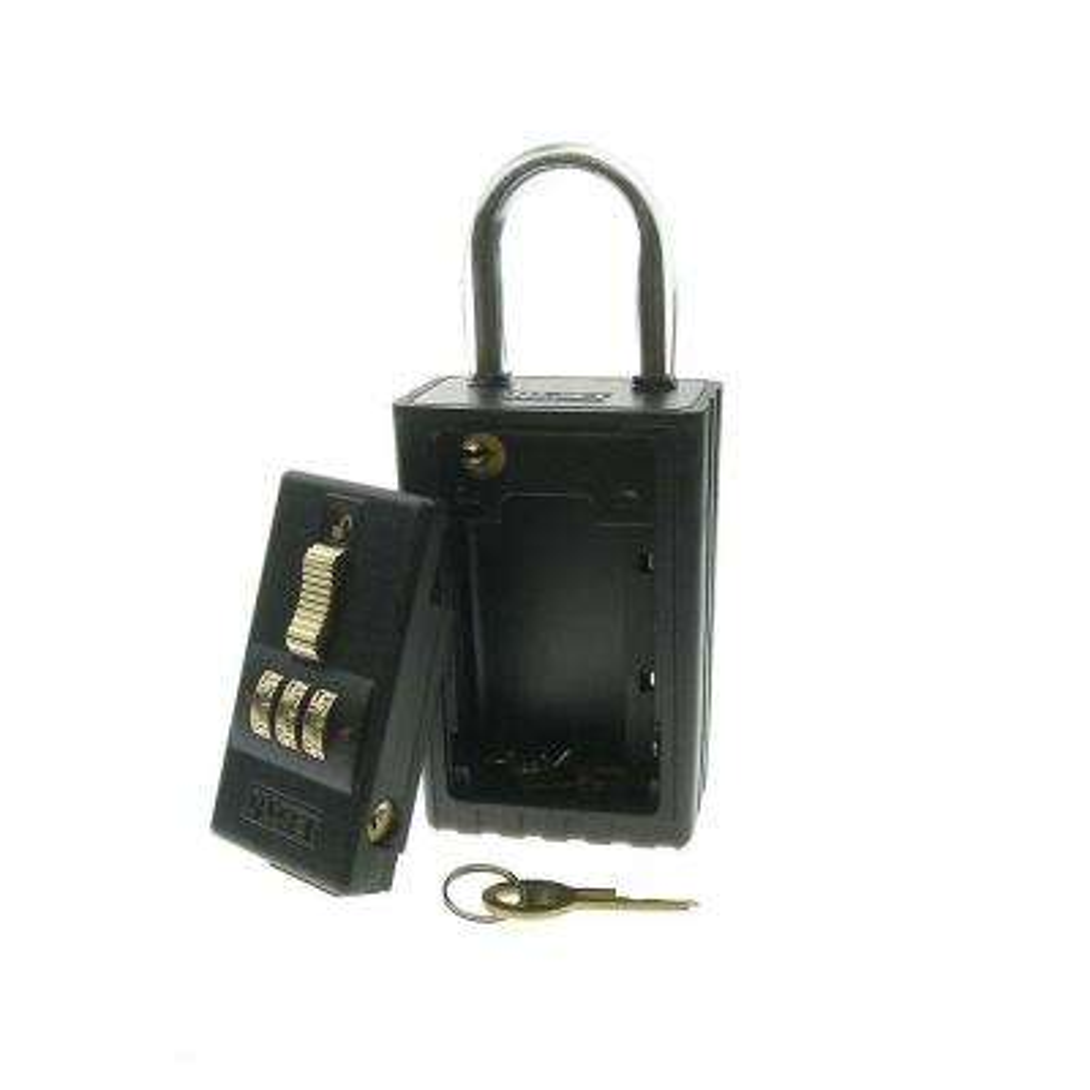3-Alpha Combination Key Storage Lockbox with Key-Locking Shackle and A to Z Dials in Black