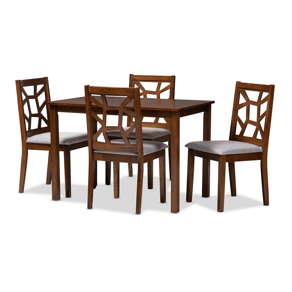 Abilene 5-Piece Walnut Brown and Gray Dining Set