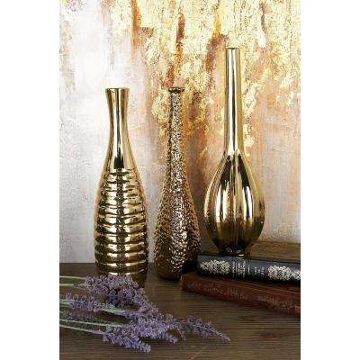 12 in. Modern Aluminum Gold Ceramic Decorative Vases (Set of 3)