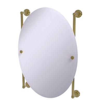 Dottingham Collection Oval Frameless Rail Mounted Mirror in Unlacquered Brass