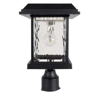 Aspen Outdoor Black Integrated LED Post Light with 3 in. Fitter and GS Solar LED Light Bulb