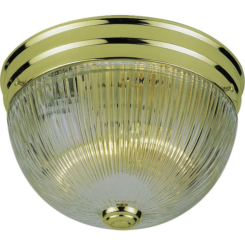 2-Light Polished Brass Interior Flush Mount