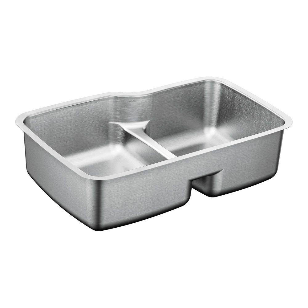 MOEN 1800 Series Undermount Stainless Steel 32 in. Double Basin Sink ...