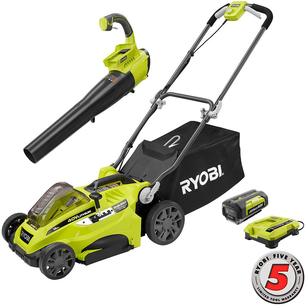 16 in. 40-Volt Lithium-Ion Cordless Lawn Mower with Jet Fan Blower