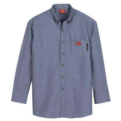 Men's Small Blue Chambray Flame Resistant Long Sleeve Chambray Shirt