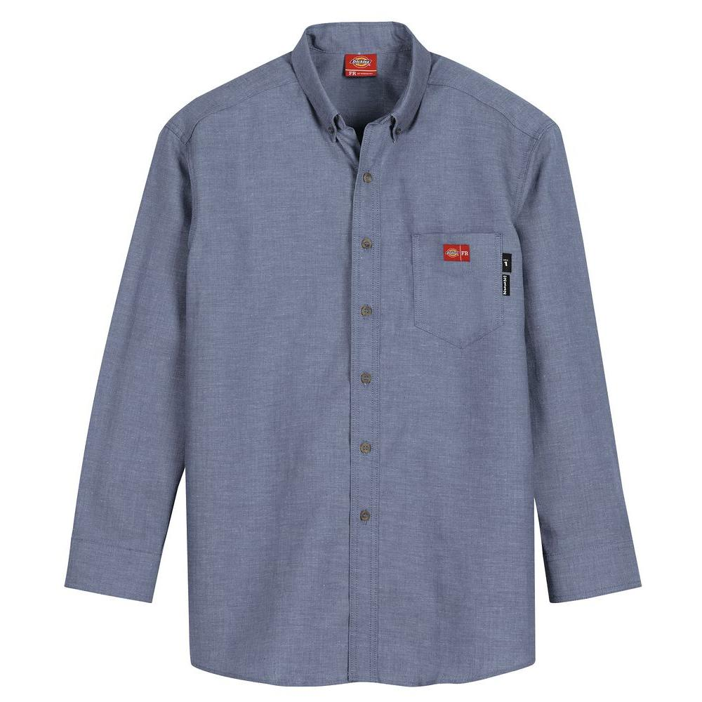Dickies Men's Extra Large Blue Chambray Flame Resistant Long Sleeve Chambray Shirt